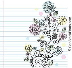 griffonnage,  sketchy, fleurs, vignes