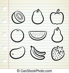 griffonnage, style, ensemble, fruit, icône