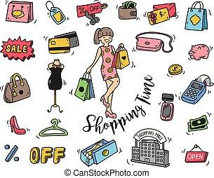 griffonnage, temps, achats, icône