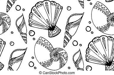 griffonnage, texture, noir, seamless, boho, pattern., seashells., blanc