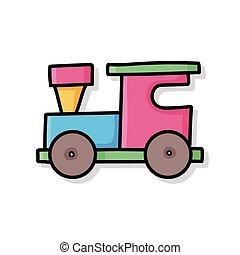 griffonnage, train, jouet