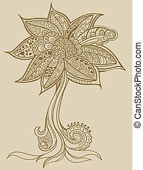 griffonnage, vecteur, arbre, henné