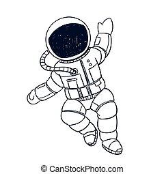 griffonnage, vecteur, astronaute