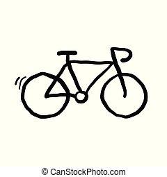 griffonnage, vecteur, bicyle