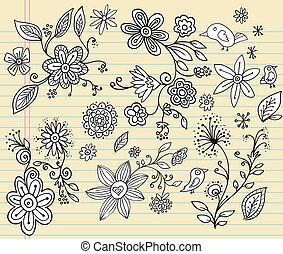 griffonnage, vecteur, ensemble, fleur, cahier