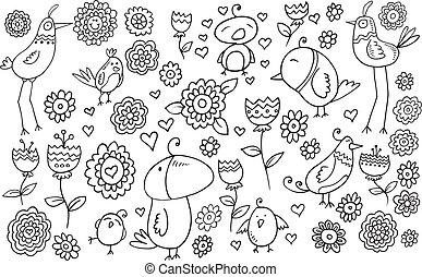 griffonnage, vecteur, ensemble, fleur, oiseau