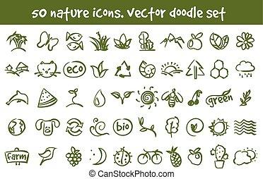 griffonnage, vecteur, ensemble, nature, icônes