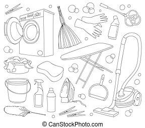 griffonnage, vecteur, ensemble, nettoyage