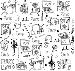 griffonnage, vecteur, ensemble, outils, musique