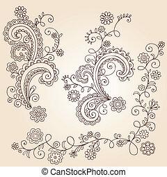griffonnage, vignes, vecteur, henné, fleur