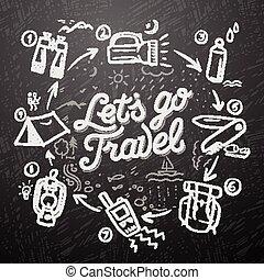 griffonnage, voyage, éléments, thème, aventure
