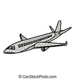 griffonnage, voyage, baston, international, avion, transport