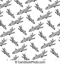 griffonnage, voyage, fond, international, avion, transport