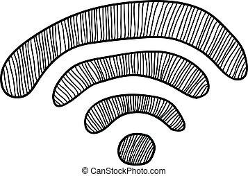 griffonnage, wi-fi, signe
