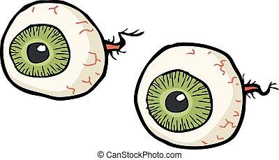 griffonnage, yeux, dessin animé