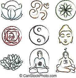 griffonnage, yoga, icônes