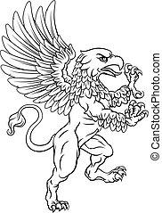 grifo, brazos, mascota, chamarra, cresta, gryphon, rampant