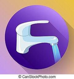 grifo, con, fluir, water., metal, riegue grifo, icono, grifo, agua, vector., agua del grifo, icono