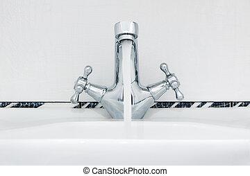 grifo, con, un, agua, stream.