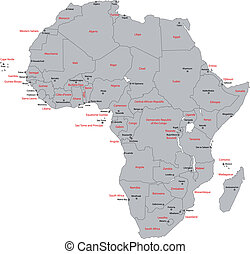 grigio, africa, mappa