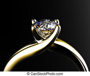 grigio, anello, diamante, isolato, fondo