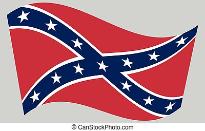 grigio, bandierina ondeggiamento, ribelle, fondo, confederato