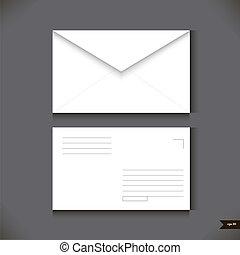 grigio, busta, due, illustrazione, carta, fondo., vettore, bianco