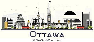 grigio, canada, fondo., isolato, bianco, costruzioni, orizzonte, città, ottawa