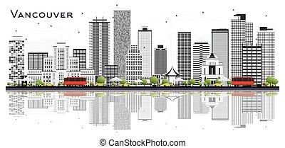 grigio, canada, fondo., isolato, bianco, costruzioni, orizzonte, città, vancouver