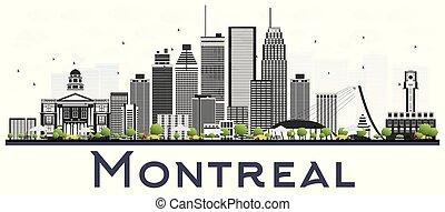 grigio, canada, montreal, fondo., isolato, bianco, costruzioni, orizzonte, città
