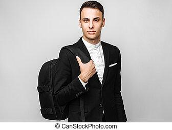 grigio, cartella, affari, classico, giovane, completo, fondo., nero, ritratto, maschio, uomo, bello
