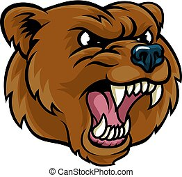 grigio, cartone animato, arrabbiato, faccia, mascotte, orso