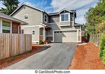 grigio, casa, garage, americano, strada privata, esterno