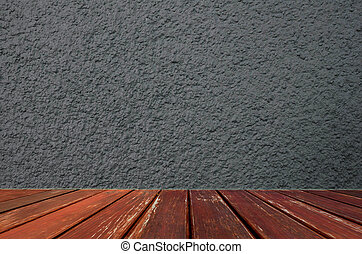 grigio, cemento, parete, con, pavimento legno