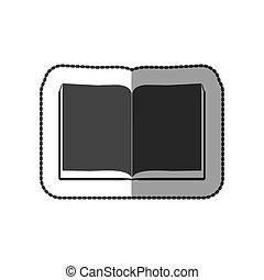 grigio, colorare, adesivo, grayscale, mezzo, libro, fogli, uggia, aperto