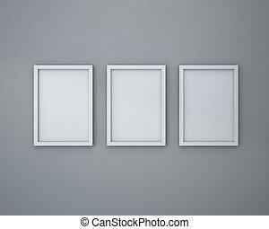 grigio, cornice, vuoto, 3, wall.