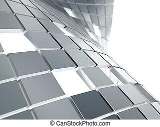 grigio, cubi, astratto, metallico, fondo, bianco