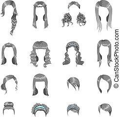 grigio, differente, set, acconciature, sedici, donne