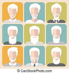 grigio, differente, set, vecchio, icone, app, appartamento, capelli, vettore, style., uomo