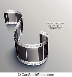 grigio, disegno, fondo, striscia, film, 3d