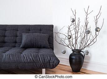 grigio, divano, e, semplice, inverno, decorazioni