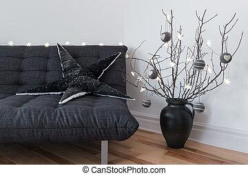 grigio, divano, inverno, decorazioni, e, confortevole, luci