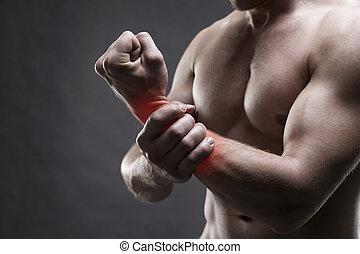 grigio, dolore, body., mano., muscolare, culturista, proposta, fondo, maschio, bello