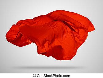 grigio, elegante, liscio, stoffa, fondo, rosso