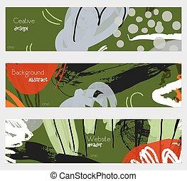 grigio, elementi, roughly, set, verde, floreale, disegnato, bandiera