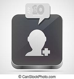 grigio, eps10, app, aggiungere, vettore, icona, bolla, amico, speech.