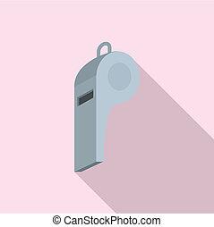 grigio, fischio, icona, appartamento, stile