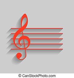 grigio, g-clef., segno., fondo., chiave, musica, vector., violino, uggia, morbido, rosso, icona