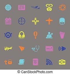 grigio, icone, colorare, relativo, aria, fondo, trasporto