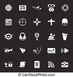 grigio, icone, relativo, aria, fondo, trasporto